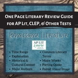 One Page Literary Review Guide - Renaissance Literature