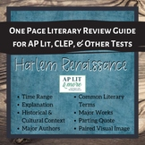 One Page Literary Review Guide - the Harlem Renaissance