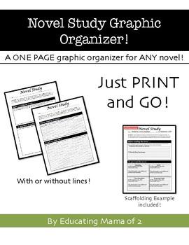 One Page Novel Study Graphic Organizer