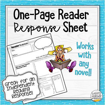 Novel Response Worksheet - English and Language Arts