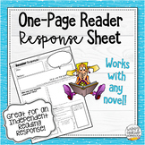 One Page Reader Response Worksheet - Works For Any Novel!