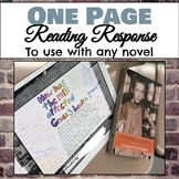 One Page Reading Responses for Any Novel Grades 6-10