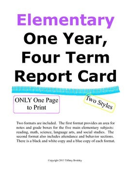 One Page Report Card Four Terms & Final Grade with Parent Signature
