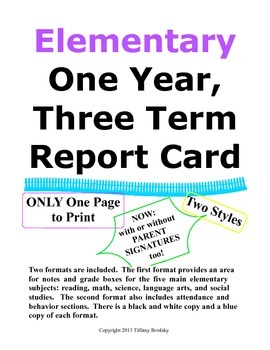 One Page Report Card Three Terms & Final Grade, Super for Home & Private School