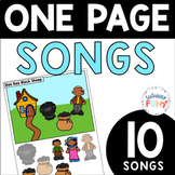 One Page Songs: Print and Boom Cards