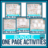 One Page Speech Therapy Activity Placemats