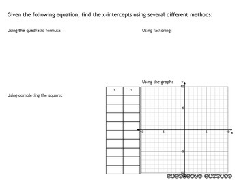 One Page Summary - Finding X-intercepts of Quadratic Equations - PP
