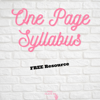One Page Syllabus