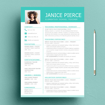 one page teacher resume template and matching cover letter bonus