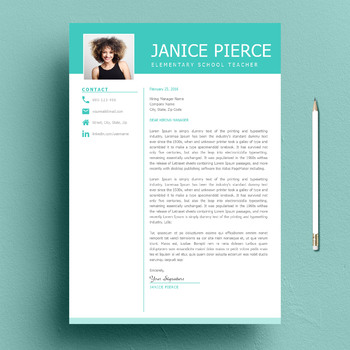 One Page Teacher Resume Template and Matching Cover Letter + BONUS