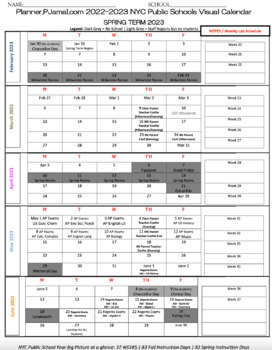 One Page Visual Planner 2018-2019 for NYCDOE High Schools (FREE PDF Preview)