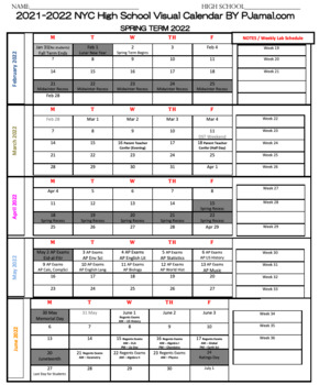 NEW One Page Visual Planner 2019-2020 for NYC DOE High Schools (FREE PDF)