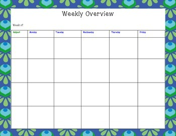 One Page Weekly Lesson Planner