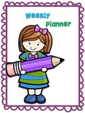 One Page Weekly Planner for Student Folder