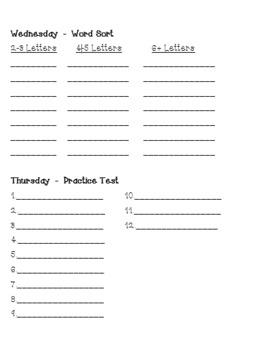 One-Page Weekly Spelling Homework (12 Words)