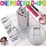 One Page Writing Fold Ups