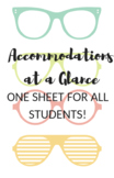 One Page for All--Accommodations at a Glance