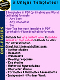 One Pager - 3 Editable & Printable Templates plus How-tos