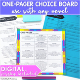 DIGITAL and PRINT One Pager for Reading Activity Choice Bo