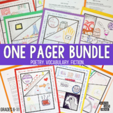 One Pager Bundle: Fiction, Poetry, and Vocabulary