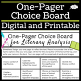 One Pager Choice Board