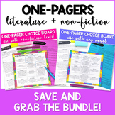 One Pager Choice Boards Bundle Literature & Non-Fiction Texts DIGITAL and Print