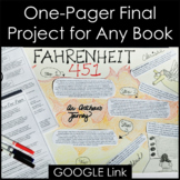 One Pager Final Project for Any Book in PDF, GOOGLE, & Easel