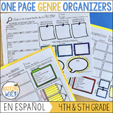 One Pager Genre Graphic Organizers in Spanish