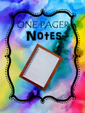 One Pager Notes