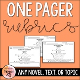 One Pager Rubrics: Novels & Non-Fiction