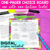 One Pager for Non-Fiction Choice Board DIGITAL and Print D