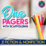 Scaffolded One Pager Activity Bundle for Fiction and Nonfiction