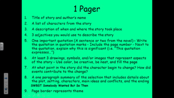 One Pagers for Fiction and Nonfiction Text