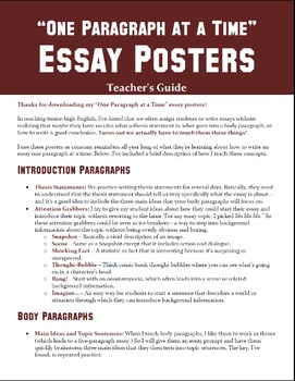 """""""One Paragraph at a Time"""" Essay Posters"""