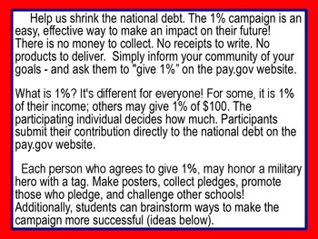 One Percent Campaign (FREE!) Shrinking the National Debt: 1% at a time!