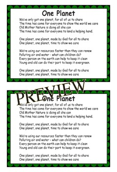 Earth Day Song Kit: One Planet song, PPT to Project lyrics, mp3 perf/acc tracks