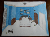 One-Point Perspective Bedroom Drawing