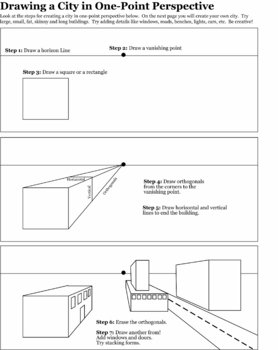 One-Point Perspective Building Worksheet by Jewels | TpT