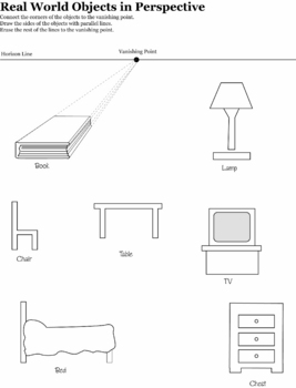 one point perspective real word objects by jewels tpt. Black Bedroom Furniture Sets. Home Design Ideas