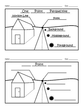 One Point Perspective Worksheet Answer Key by Artist Bakery | TpT