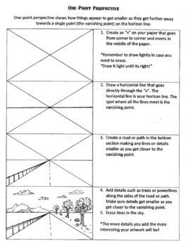 One Point Perspective Worksheet. Help students learn 1 ...