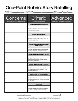 One Point Rubric for Story Retelling