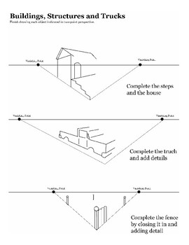 one point and two point perspective worksheet packet by jewels tpt. Black Bedroom Furniture Sets. Home Design Ideas