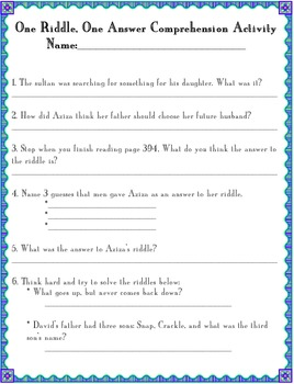 One Riddle, One Answer Comprehension/Vocabulary Activity