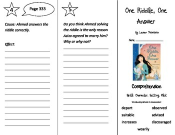One Riddle One Answer Trifold - Treasures 3rd Grade Unit 3