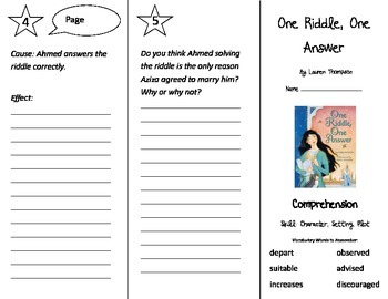 One Riddle One Answer Trifold - Treasures 3rd Grade Unit 6 Week 5