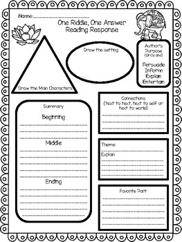 One Riddle, One Answer- a One Week Reading Unit for the story by Laura Thompson