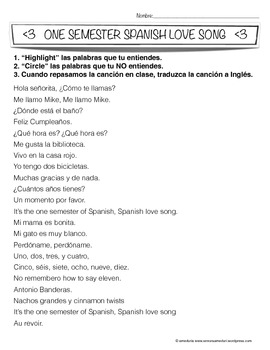 """""""One Semester of Spanish Love Song"""" Lesson Plans"""