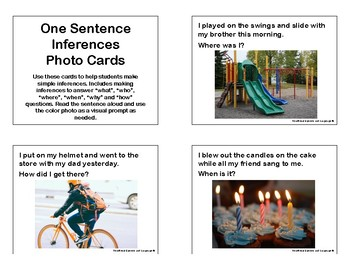 One Sentence Inferences Photo Cards