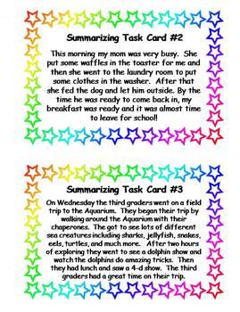 One Sentence Summarizing Task Cards